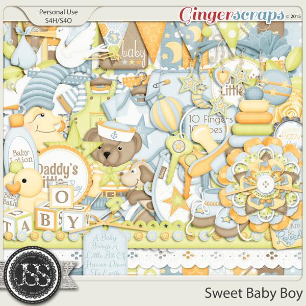 Gingerscraps Kits Sweet Baby Boy Digital Scrapbooking Kit