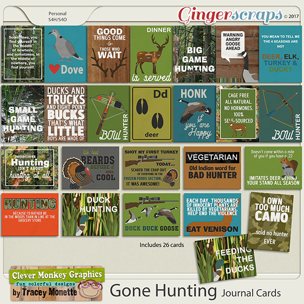 Gone Hunting Journal Cards by Clever Monkey Graphics