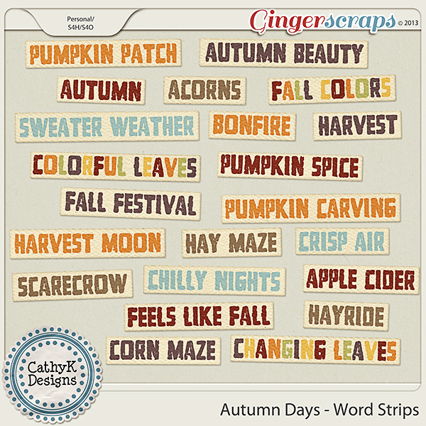 Autumn Days Word Strips