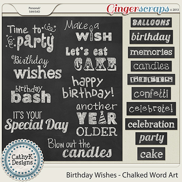 GingerScraps :: Word Art :: Birthday Wishes - Chalked Word Art