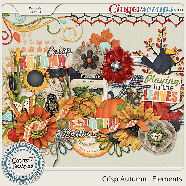 Crisp Autumn Elements: by CathyK Designs