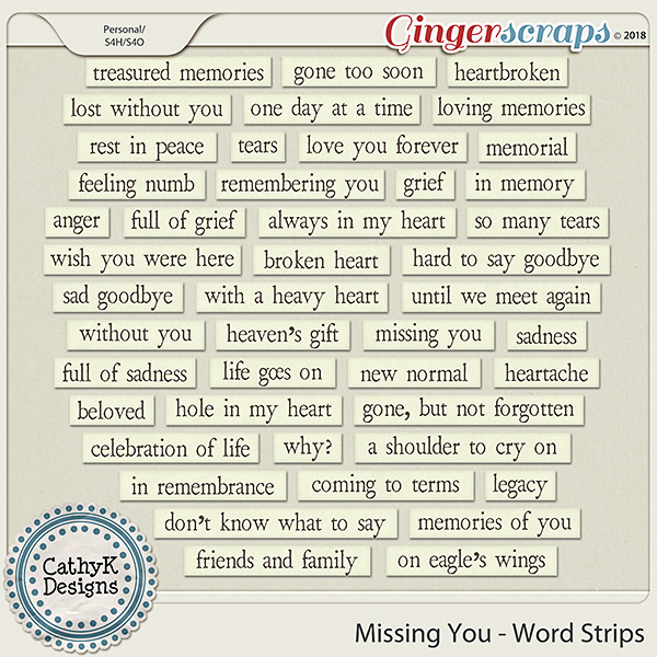 Missing You - Word Strips by CathyK Designs