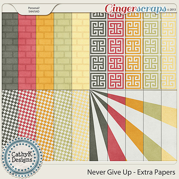 Never Give Up Extra Papers: by CathyK Designs