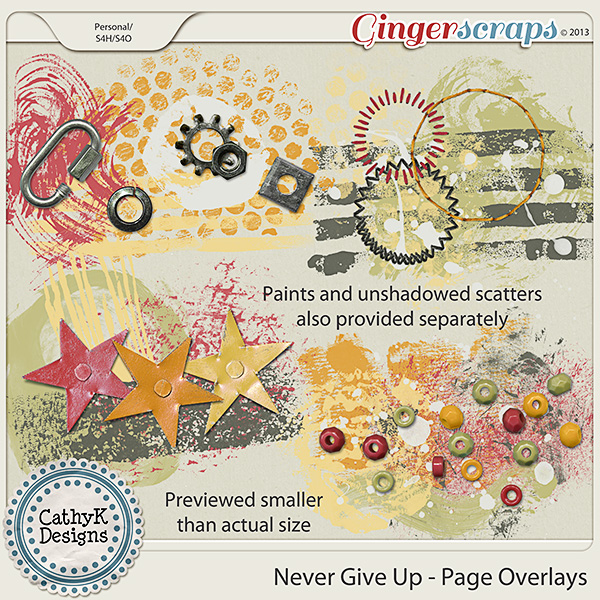 Never Give Up Page Overlays: by CathyK Designs