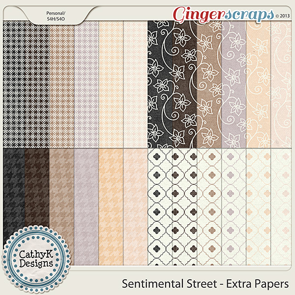 Sentimental Street Extra Papers: by CathyK Designs