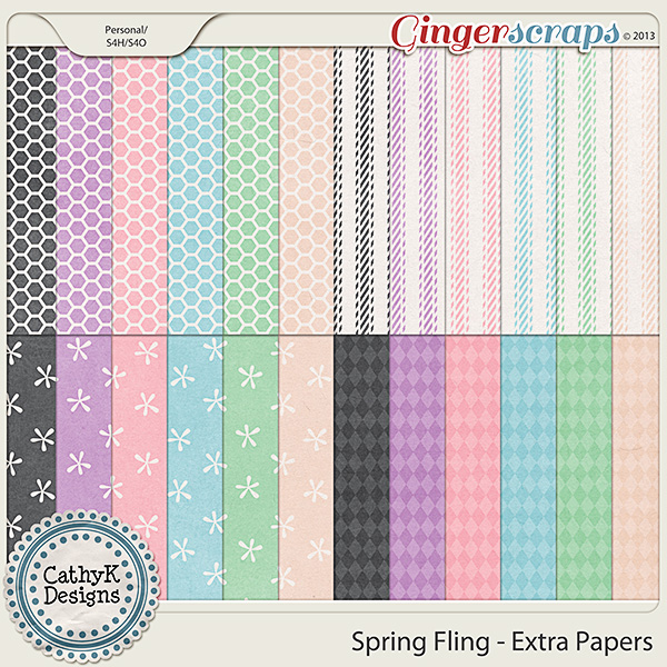 Spring Fling Extra Papers: by CathyK Designs