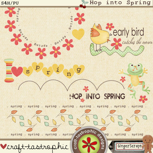 Hop Into Spring Word Art
