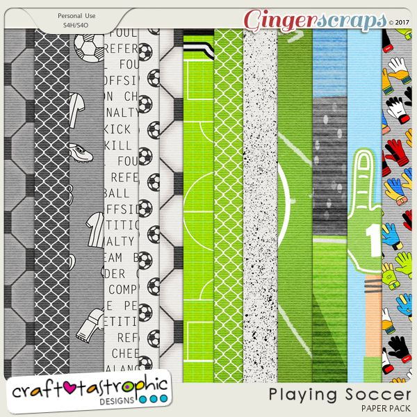 Playing Soccer Patterned Papers