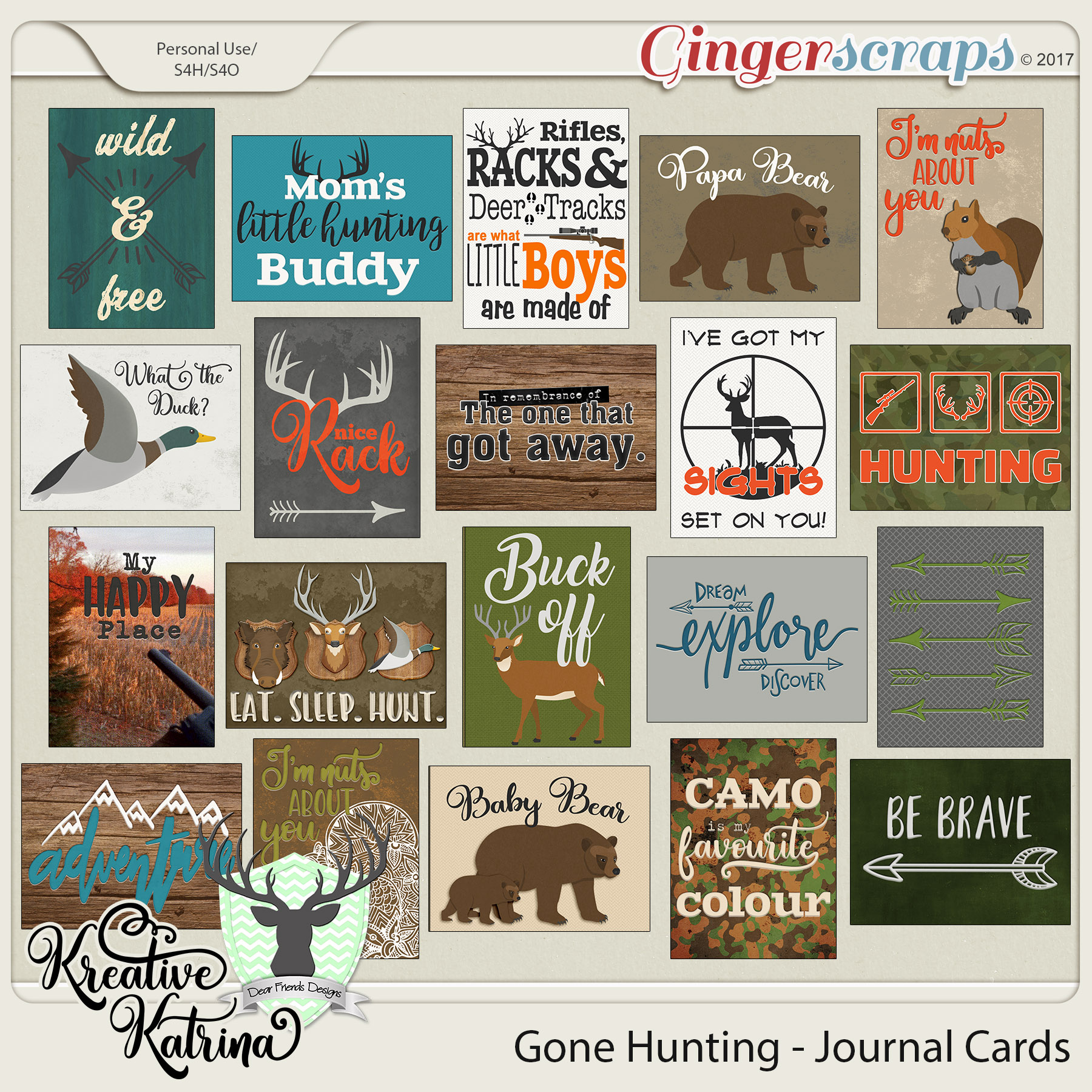 Gone Hunting Journal Cards by Dear Friends Designs