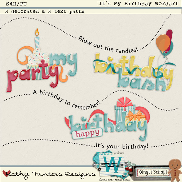 It&#039;s My Birthday Word Art: by Kathy Winters