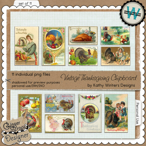 Vintage Thanksgiving Chipboard by Kathy Winters Designs