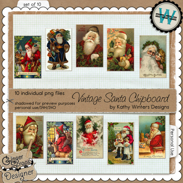 Vintage Santa Chipboard by Kathy Winters Designs