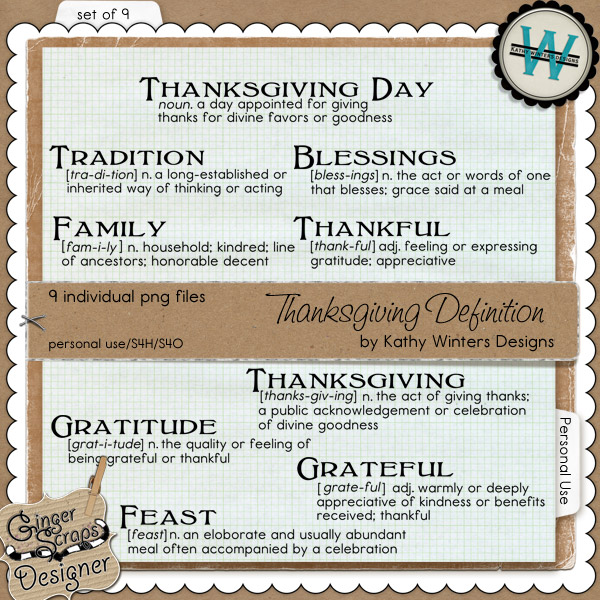 Thanksgiving Definitions by Kathy Winters Designs