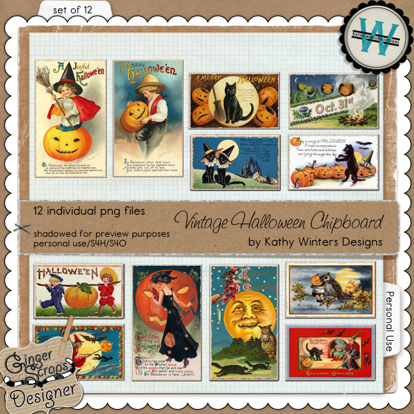 Vintage Halloween Chipboard by Kathy Winters Designs