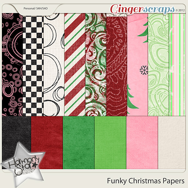 Funky Christmas Papers by Harmonystar