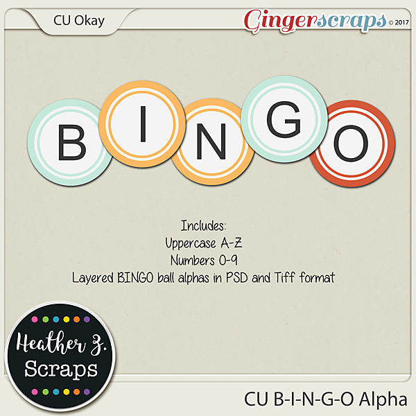 CU B-I-N-G-O ALPHA TEMPLATES by Heather Z Scraps