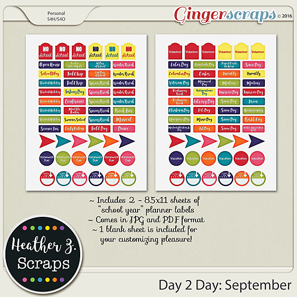 Day 2 Day: September PLANNER LABELS by Heather Z Scraps
