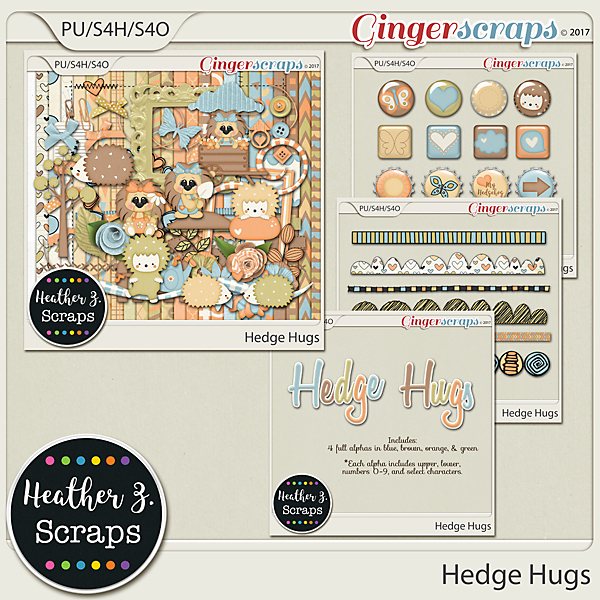 Hedge Hugs BUNDLE by Heather Z Scraps