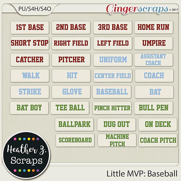 Little MVP: Baseball WORD BITS by Heather Z Scraps
