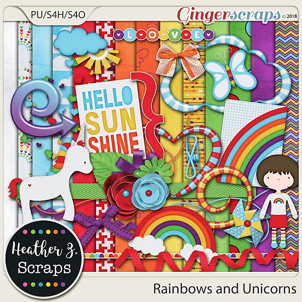 Rainbows and Unicorns KIT by Heather Z Scraps