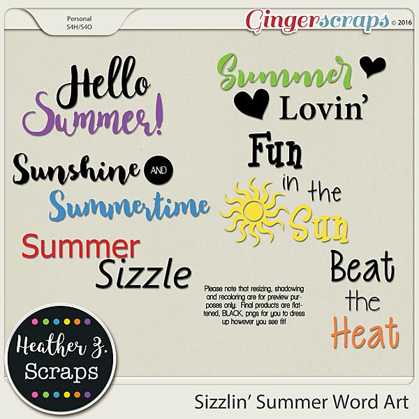 Sizzlin' Summer WORD ART 1 by Heather Z Scraps
