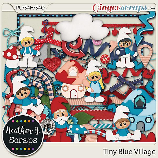 Tiny Blue Village ELEMENTS by Heather Z Scraps