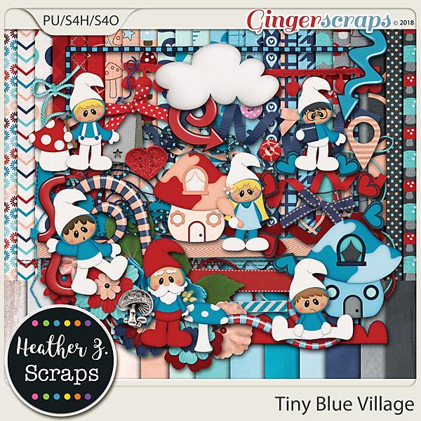 Tiny Blue Village KIT by Heather Z Scraps