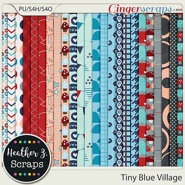 Tiny Blue Village PAPERS by Heather Z Scraps