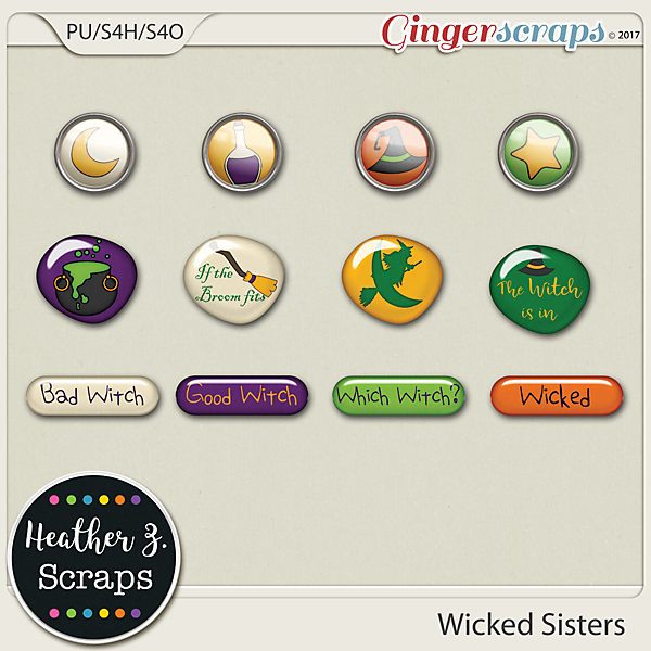 Wicked Sisters FLAIRS by Heather Z Scraps