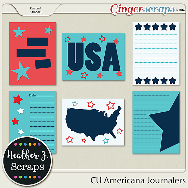 CU Americana JOURNAL CARDS by Heather Z Scraps