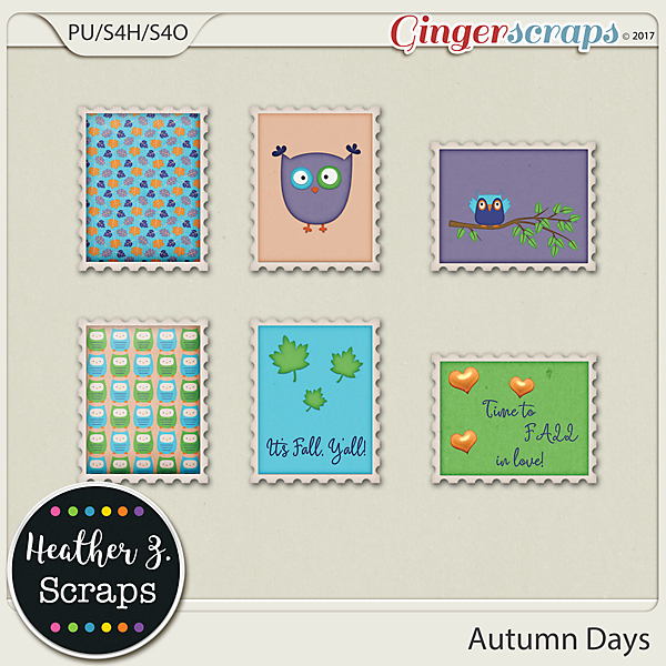 Autumn Days STAMPS by Heather Z Scraps