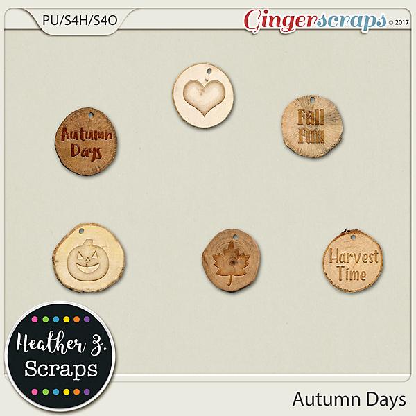 Autumn Days WOOD CHIPS by Heather Z Scraps