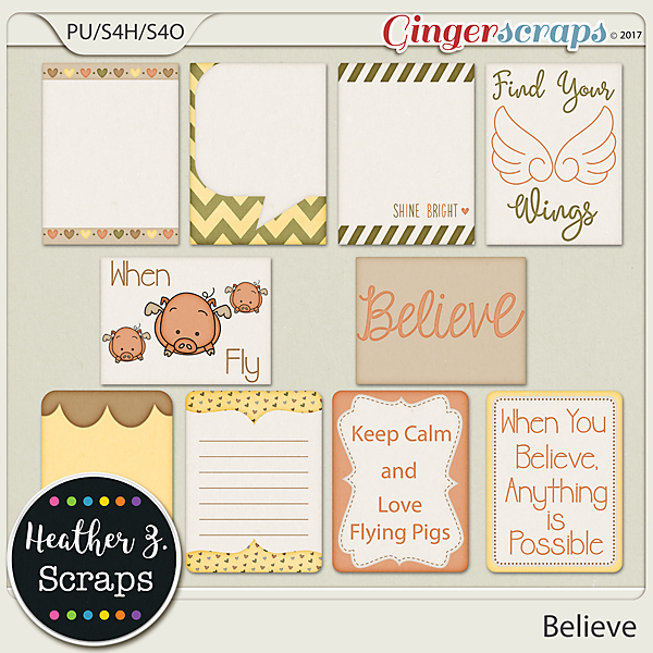 Believe JOURNAL CARDS by Heather Z Scraps