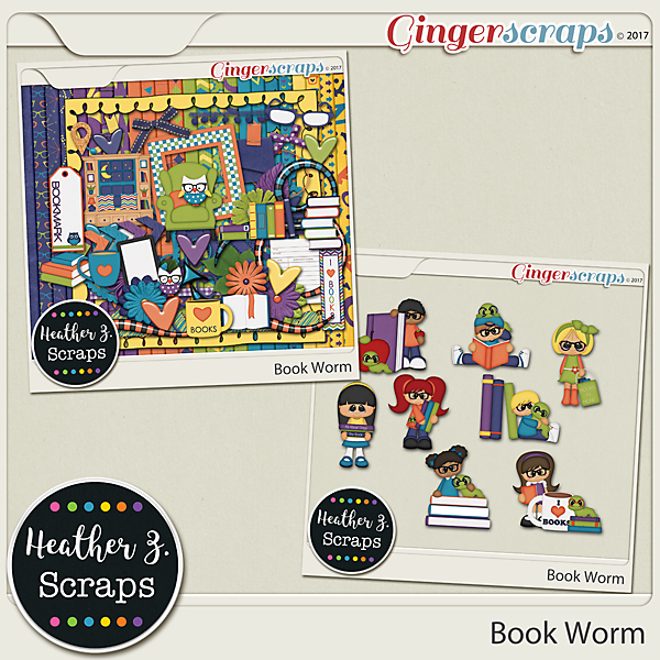 Book Worm KIT by Heather Z Scraps