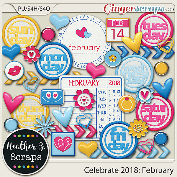 Celebrate 2018: February ACCENTS by Heather Z Scraps