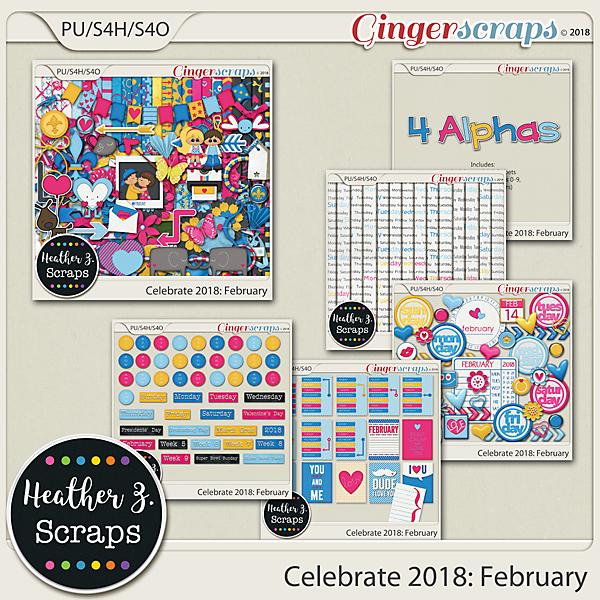 Celebrate 2018: February BUNDLE by Heather Z Scraps