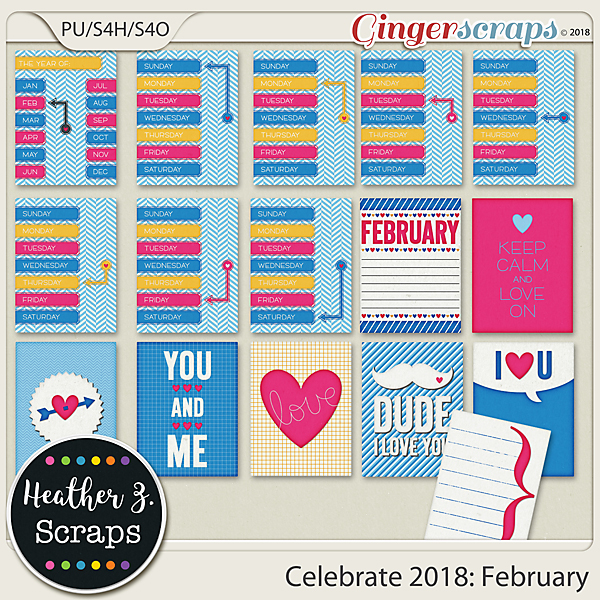 Celebrate 2018: February JOURNAL CARDS by Heather Z Scraps