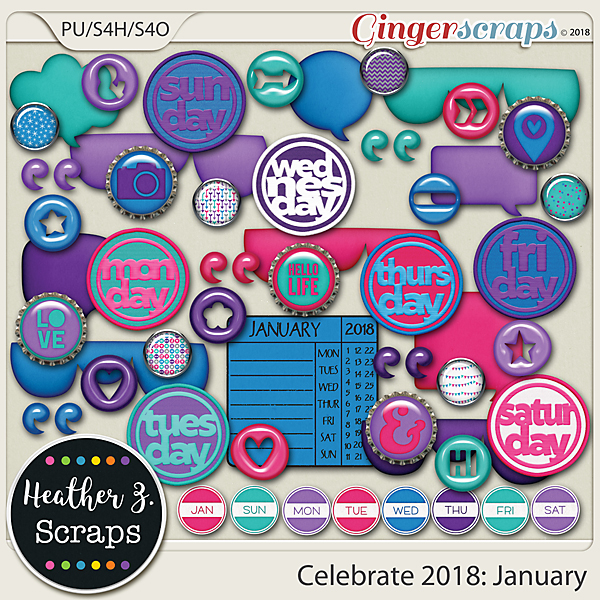 Celebrate 2018: January ACCENTS by Heather Z Scraps