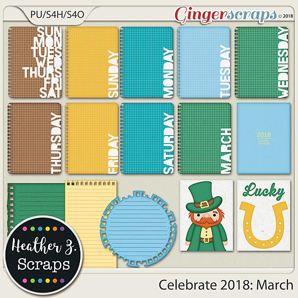 Celebrate 2018: March JOURNAL CARDS by Heather Z Scraps