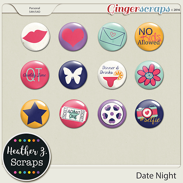 Date Night FLAIRS by Heather Z Scraps