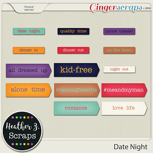 Date Night WORD BITS by Heather Z Scraps