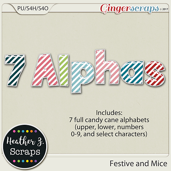 Festive and Mice ALPHABETS by Heather Z Scraps