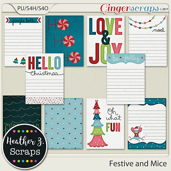 Festive and Mice JOURNAL CARDS by Heather Z Scraps