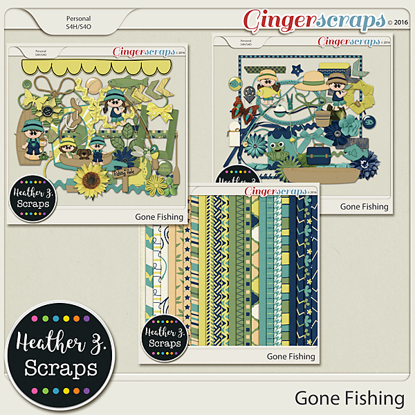 Gone Fishing KIT by Heather Z Scraps