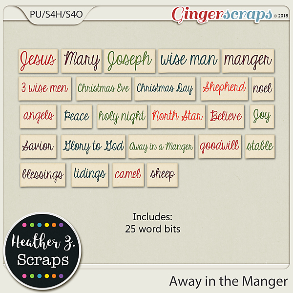 Away in a Manger WORD BITS by Heather Z Scraps