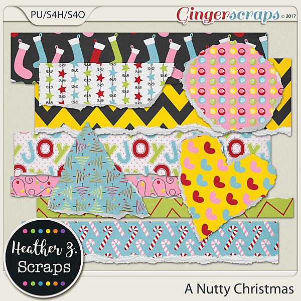A Nutty Christmas TORN PAPERS by Heather Z Scraps