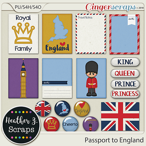 Passport to England JOURNAL CARDS & FLAIRS by Heather Z Scraps