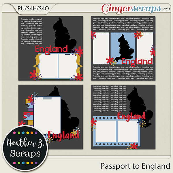 Passport to England TEMPLATES by Heather Z Scraps