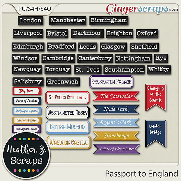 Passport to England WORD BITS by Heather Z Scraps