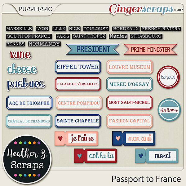 Passport to France WORD BITS by Heather Z Scraps